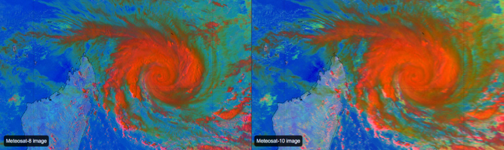 Comparison of Meteosat-8 and -10 Day Microphysics images showing the difference in resolution. Source: EUMeTrain, ePort Pro